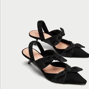 Zara knotted high heel slingback shoes